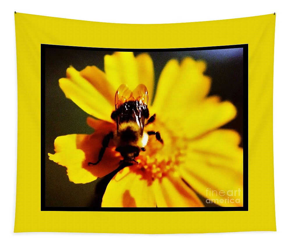 Yellow Tapestry featuring the photograph Bumble Bee On Yellow Flower by Debra Lynch