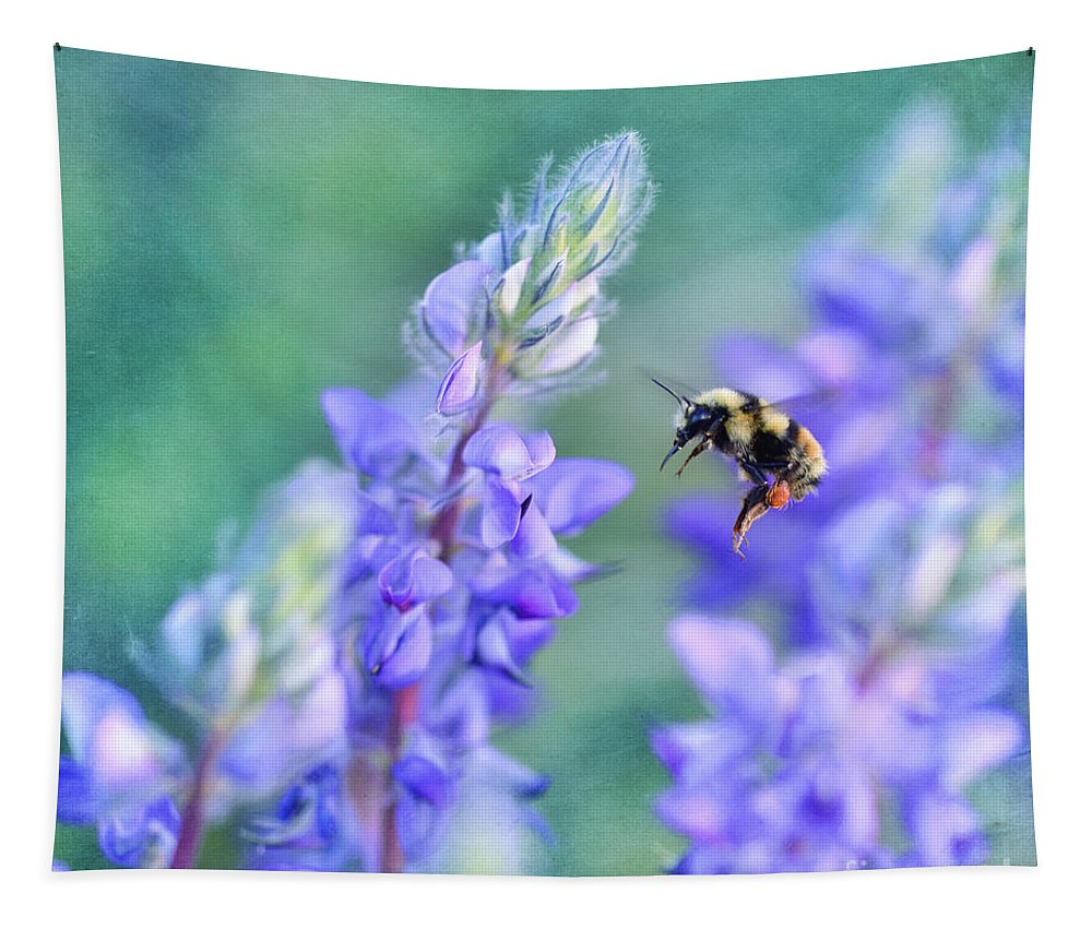 Wildflower Tapestry featuring the photograph Bumblebee And Lupine by Priska Wettstein