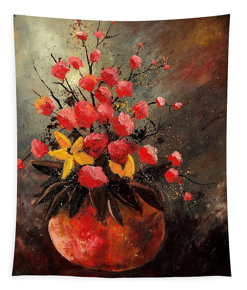 Flowers Tapestry featuring the painting Bunch 569060 by Pol Ledent