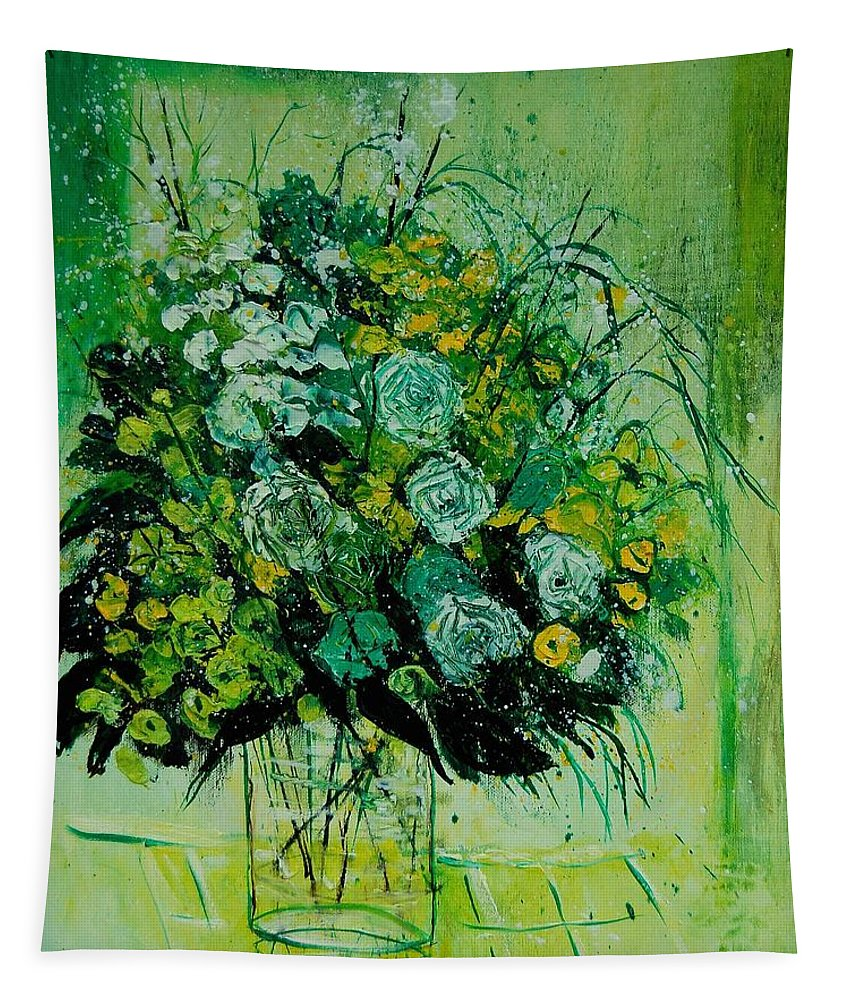 Flowers Tapestry featuring the painting Bunch 9011 by Pol Ledent