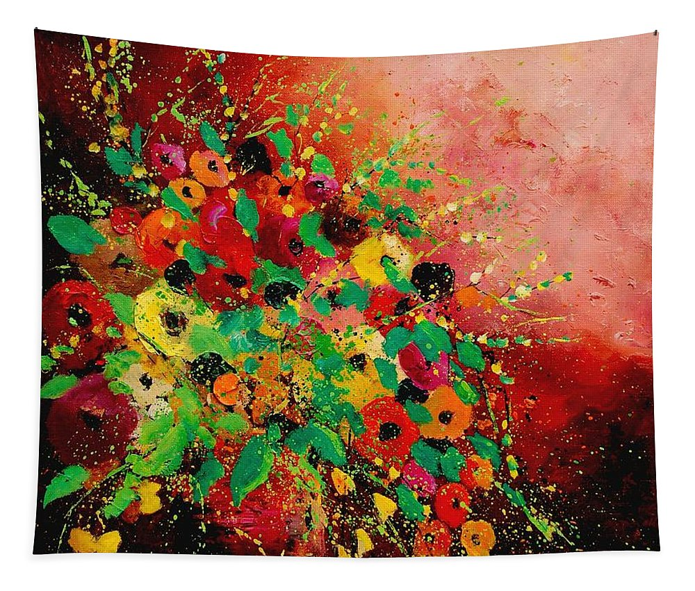 Flowers Tapestry featuring the painting Bunch of flowers 0507 by Pol Ledent