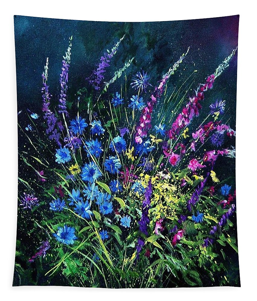 Poppies Tapestry featuring the painting Bunch Of Wild Flowers by Pol Ledent