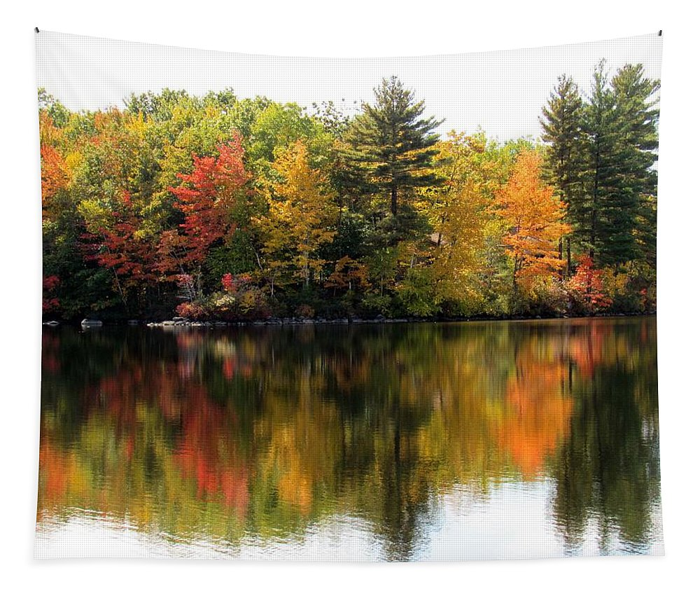 Lynne Miller Tapestry featuring the photograph Bunganut Lake Maine Foliage 10 2016 by Lynne Miller