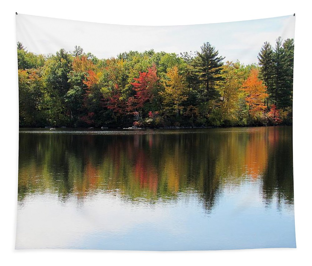 Lynne Miller Tapestry featuring the photograph Bunganut Lake Maine Foliage 11 2016 by Lynne Miller