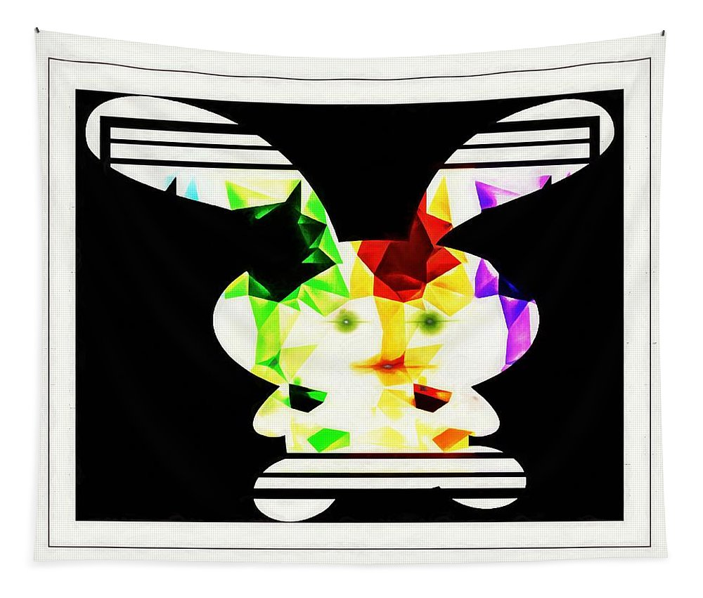 Bunny Tapestry featuring the digital art Bunny In Abstract by Debra Lynch