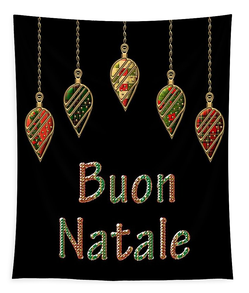 Red Tapestry featuring the digital art Buon Natale Italian Merry Christmas by Movie Poster Prints