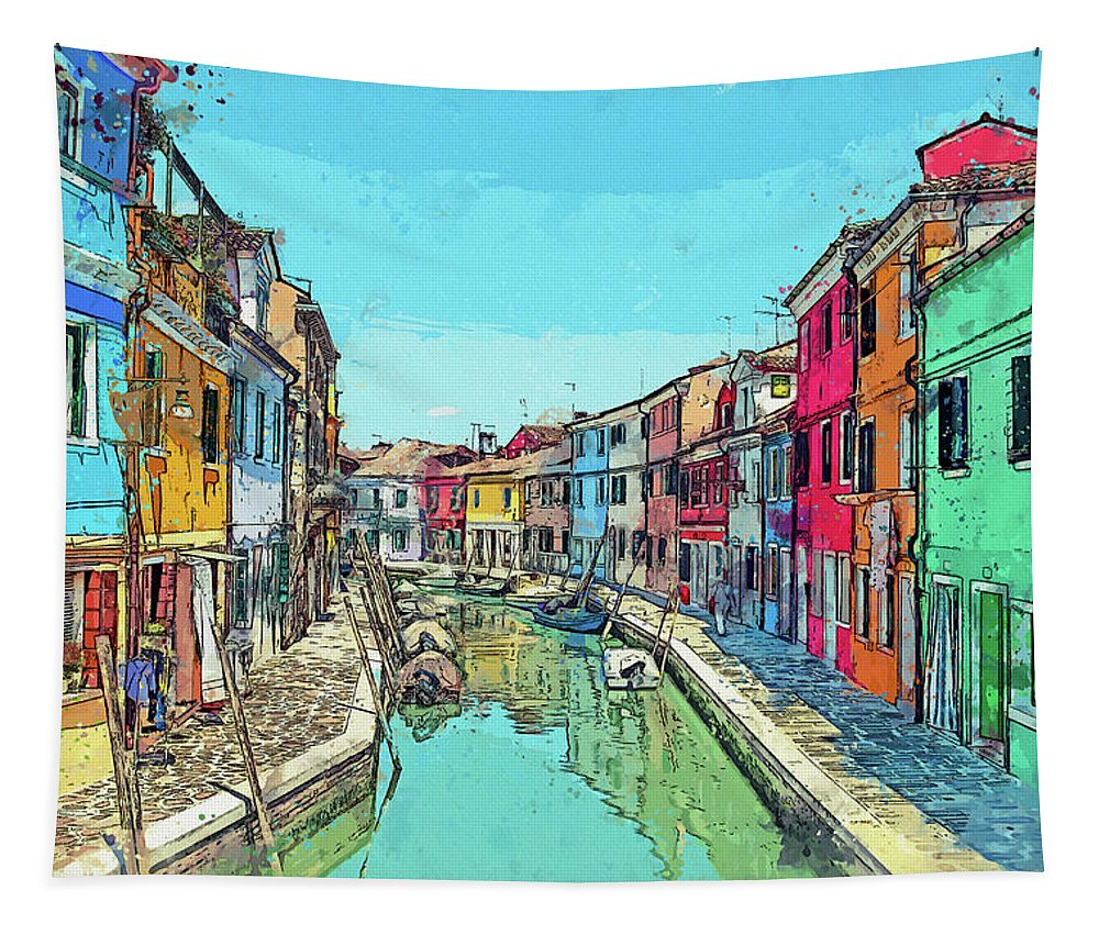Burano Tapestry featuring the photograph Burano Sketch by Kay Brewer
