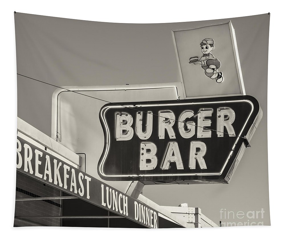 Antique Tapestry featuring the photograph Burger Bar Bw by Jerry Fornarotto