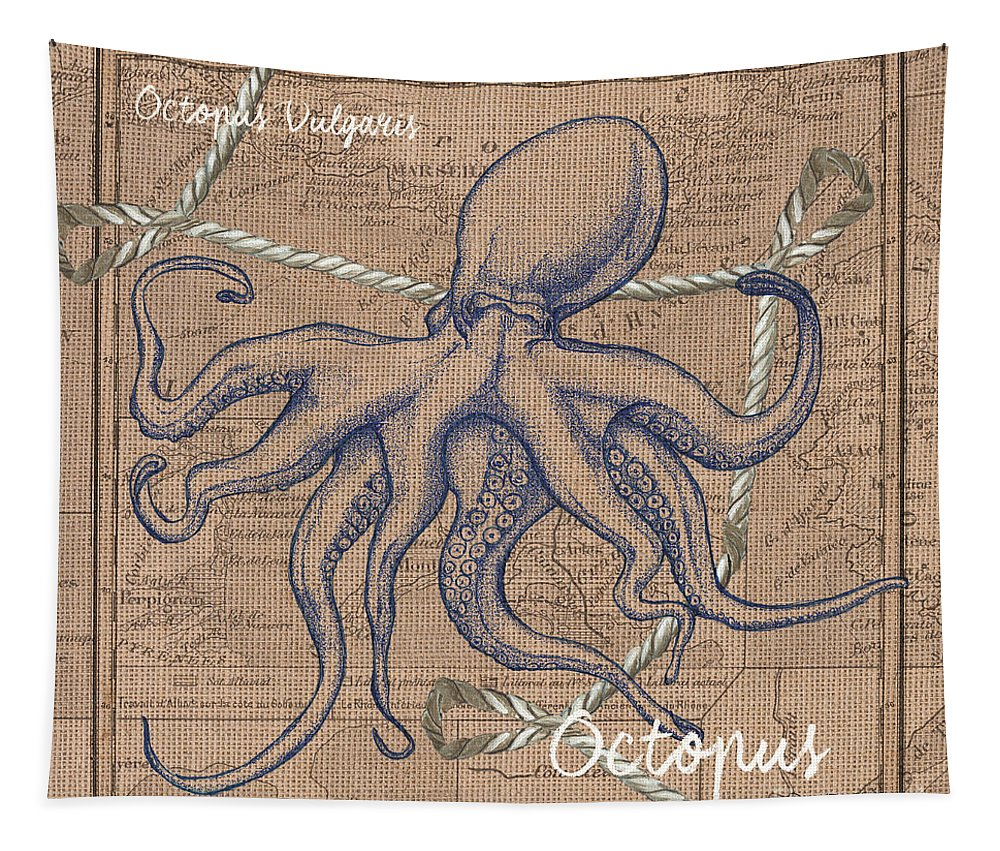 Octopus Tapestry featuring the painting Burlap Octopus by Debbie DeWitt