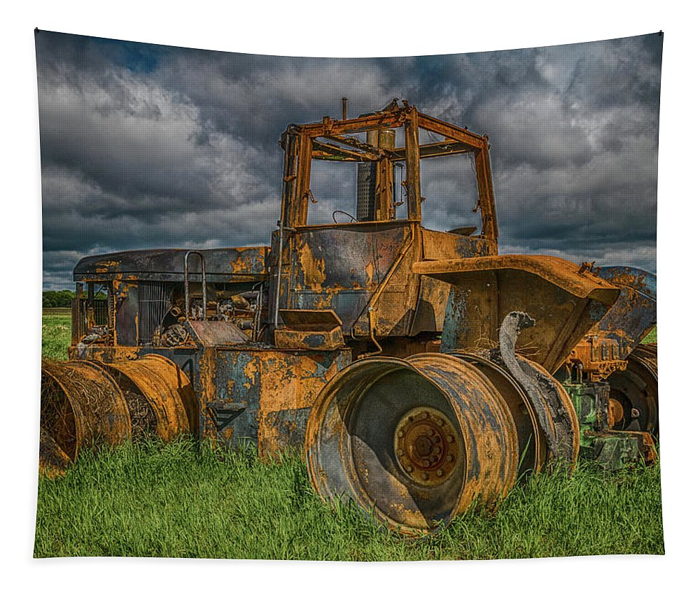 Tractor Tapestry featuring the photograph Burned Out Farm Tractor by Patti Deters
