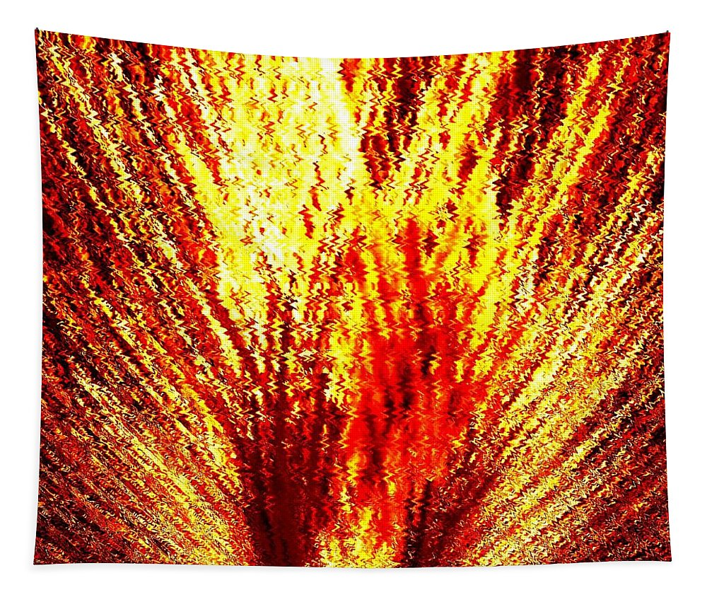 Abstract Tapestry featuring the digital art Burning Bush by Will Borden