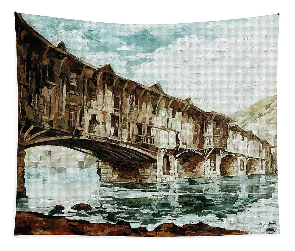 Old Bridge Tapestry featuring the painting Burnt Covered Bridge by Maria Arnaudova