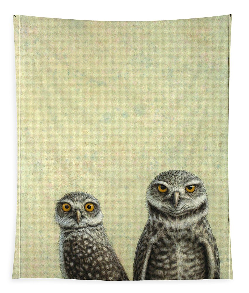 Owls Tapestry featuring the painting Burrowing Owls by James W Johnson