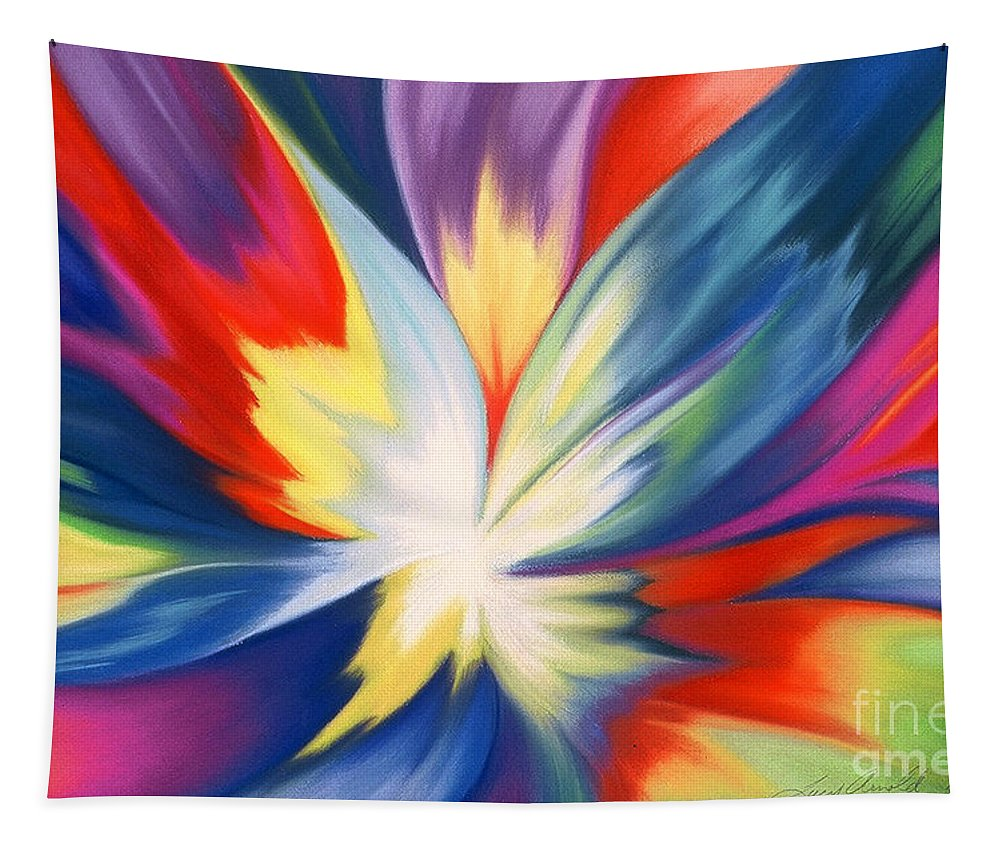 Abstract Tapestry featuring the painting Burst Of Joy by Lucy Arnold