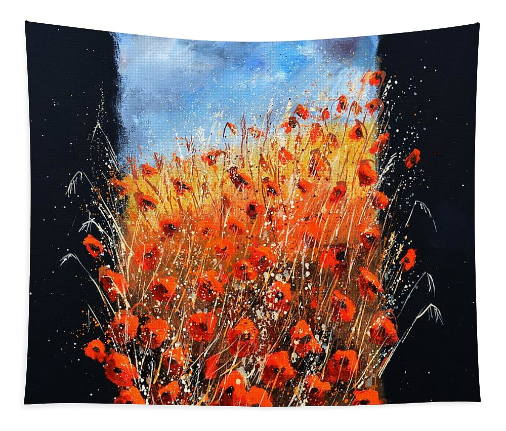 Poppies Tapestry featuring the painting Bursting Out Of The Frame by Pol Ledent