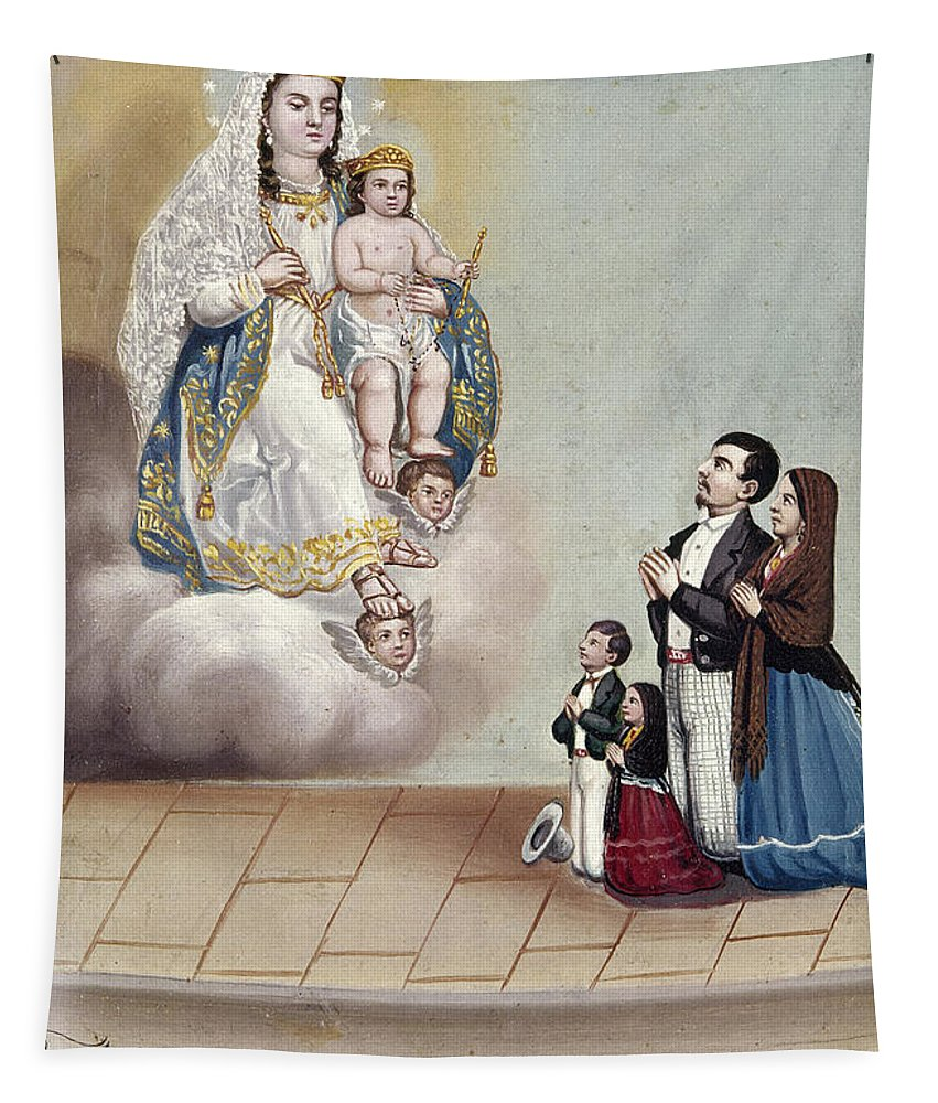 1879 Tapestry featuring the photograph Bustos: Worship, 1879 by Granger