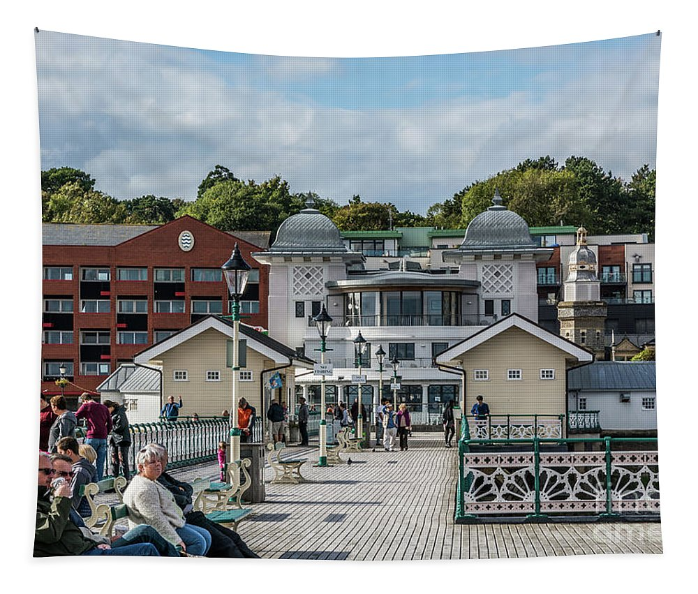 Penarth Pier Tapestry featuring the photograph Busy On The Pier 1 by Steve Purnell