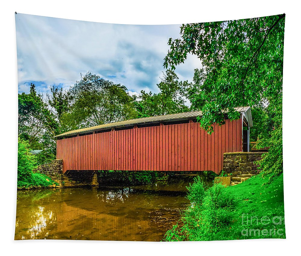 Buchers Tapestry featuring the photograph Butchers Mill Covered Bridge by Nick Zelinsky