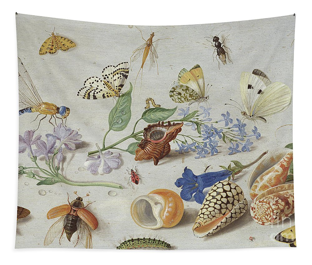 Butterflies And Other Insects Tapestry featuring the painting Butterflies And Other Insects, 1661 by Jan Van Kessel