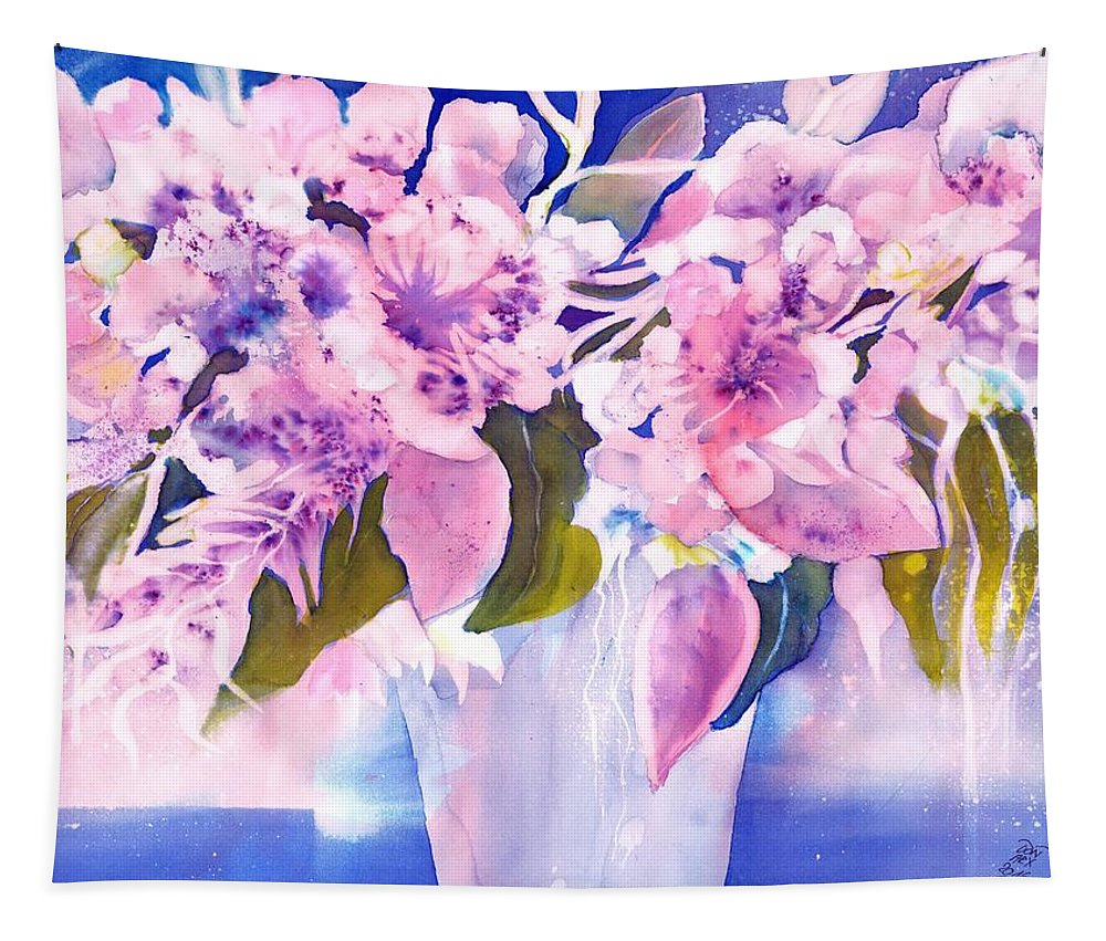 Flower Tapestry featuring the painting Pink Butterfly Flowers by Sabina Von Arx