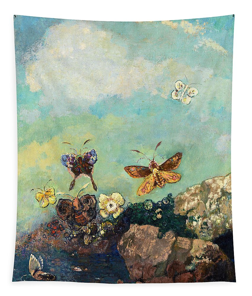 Odilon Redon Tapestry featuring the painting Butterfly by Odilon Redon