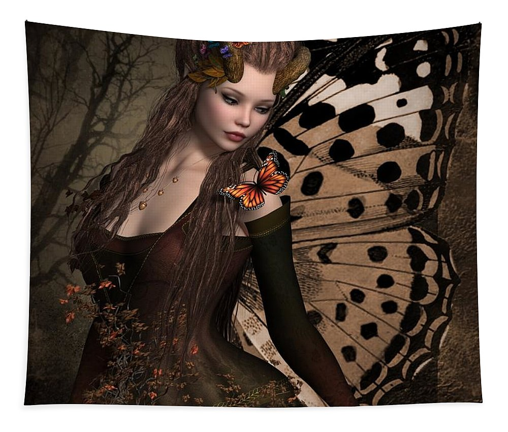 Ali Oppy Tapestry featuring the digital art Butterfly Princess Of The Forest 2 by Ali Oppy