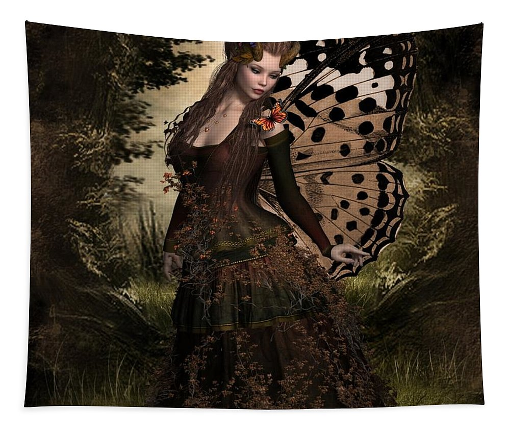 Ali Oppy Tapestry featuring the digital art Butterfly Princess Of The Forest by Ali Oppy