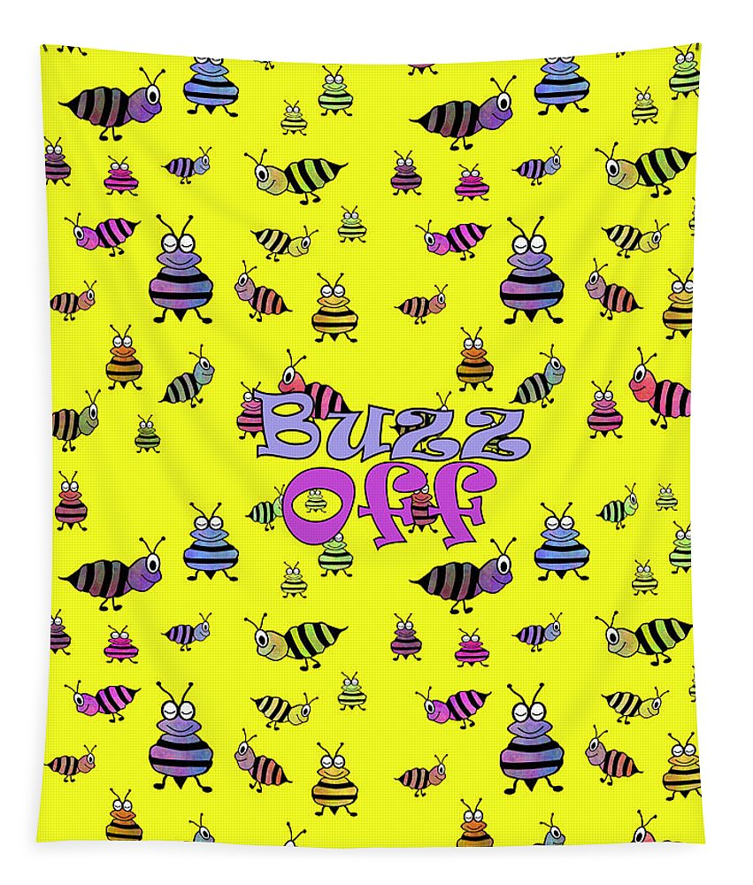 Cute Bumble Bees Tapestry featuring the digital art Buzz Off - Typography by Kathleen Sartoris