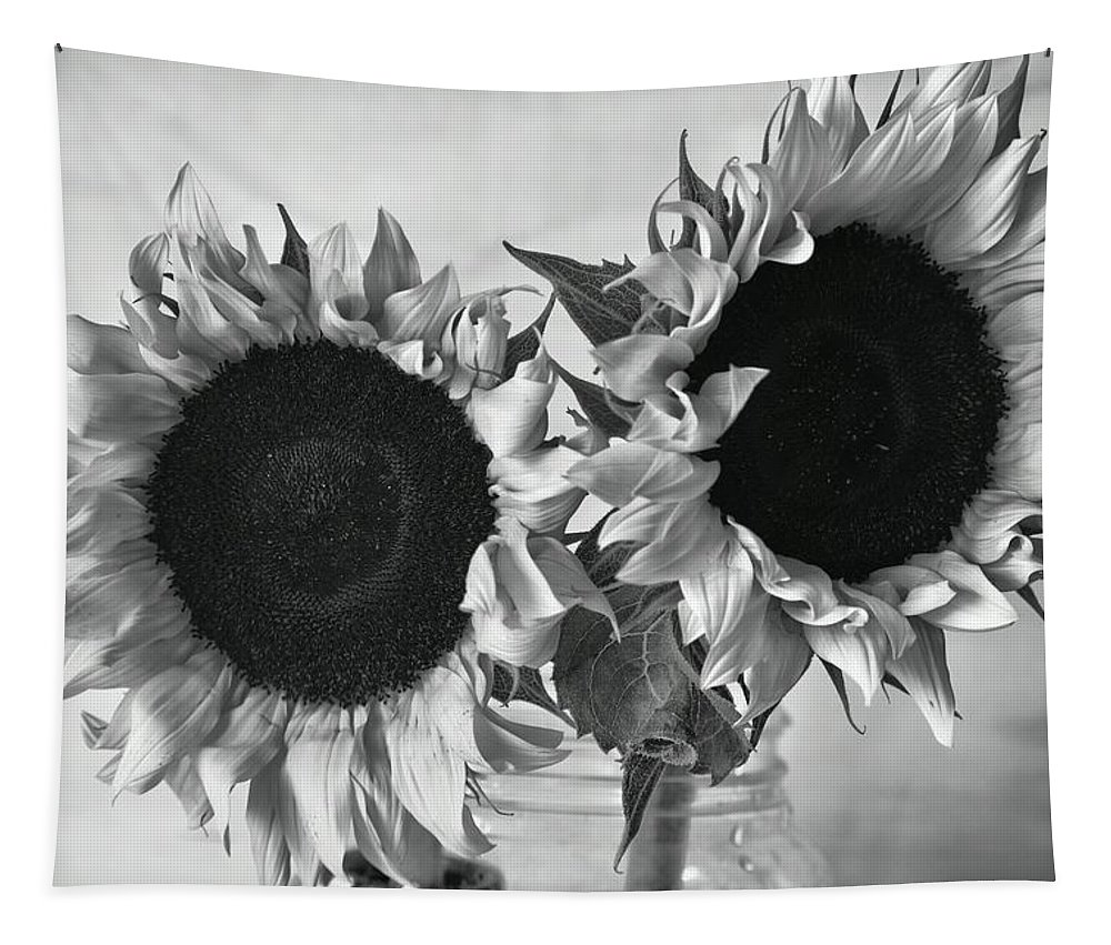 Sunflowers Tapestry featuring the photograph Bw Sunflowers #002 by Ninie AG
