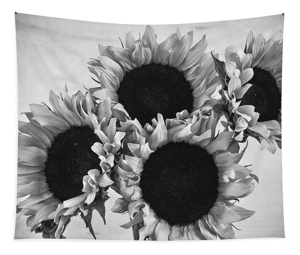 Sunflowers Tapestry featuring the photograph Bw Sunflowers #010 by Ninie AG
