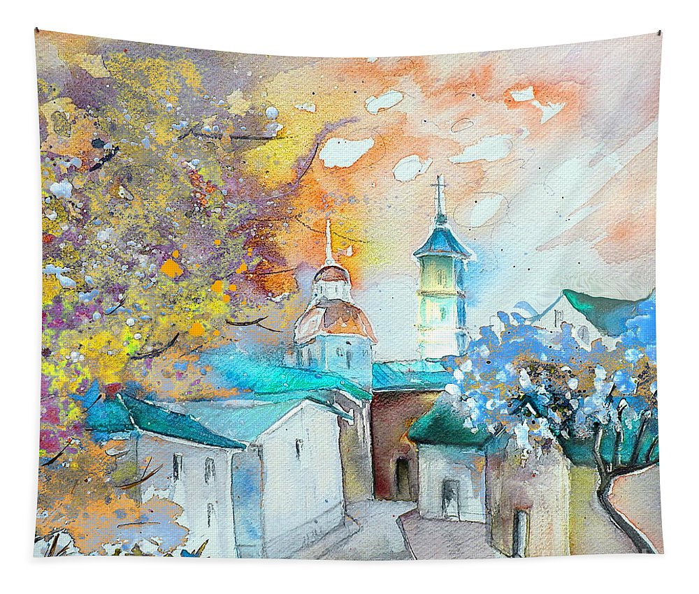 Watercolour Travel Painting Of A Village By Teruel In Spain Tapestry featuring the painting By Teruel Spain 03 by Miki De Goodaboom