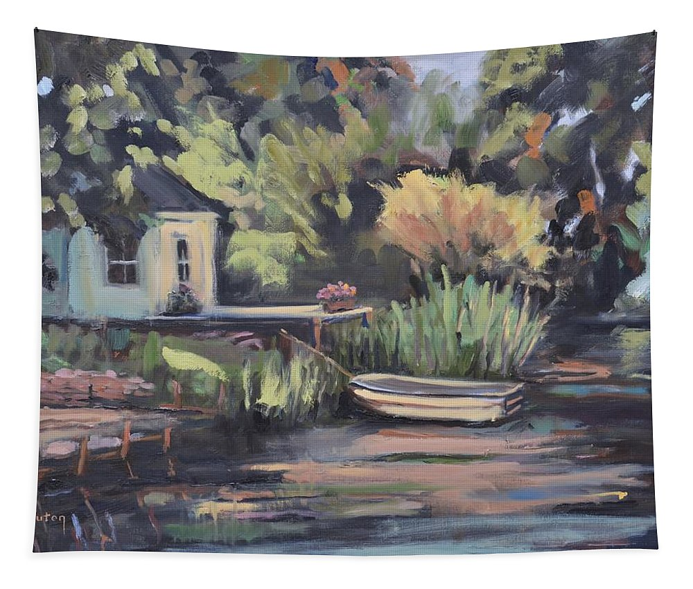Water Tapestry featuring the painting By The Lake by Donna Tuten
