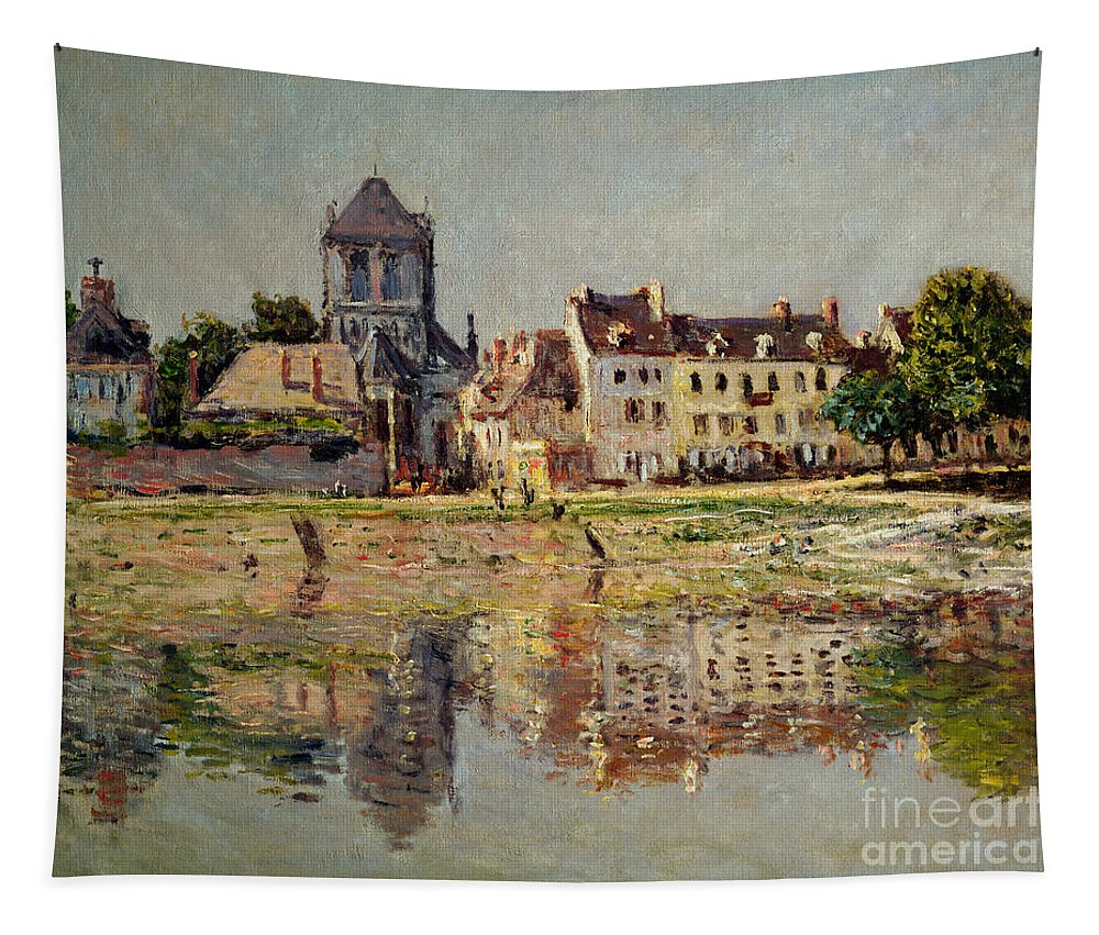 Monet Tapestry featuring the painting By The River At Vernon by Claude Monet