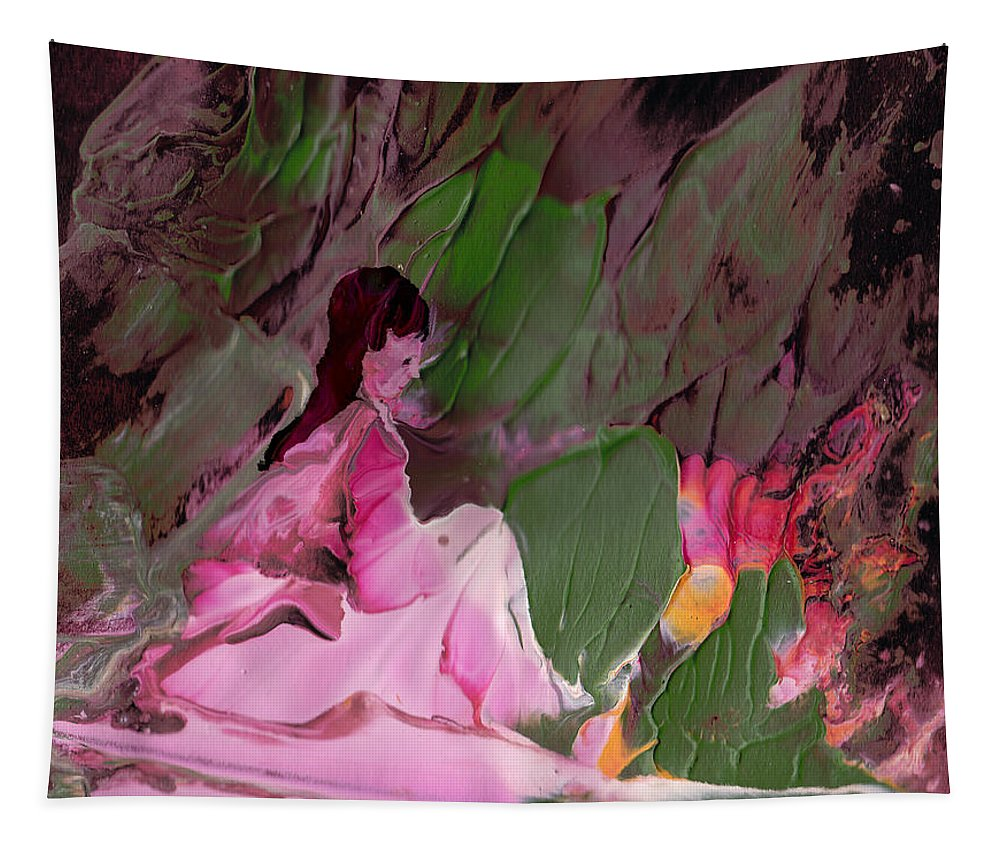 Fantasy Tapestry featuring the painting By The River Piedra I Sat Down And Wept by Miki De Goodaboom