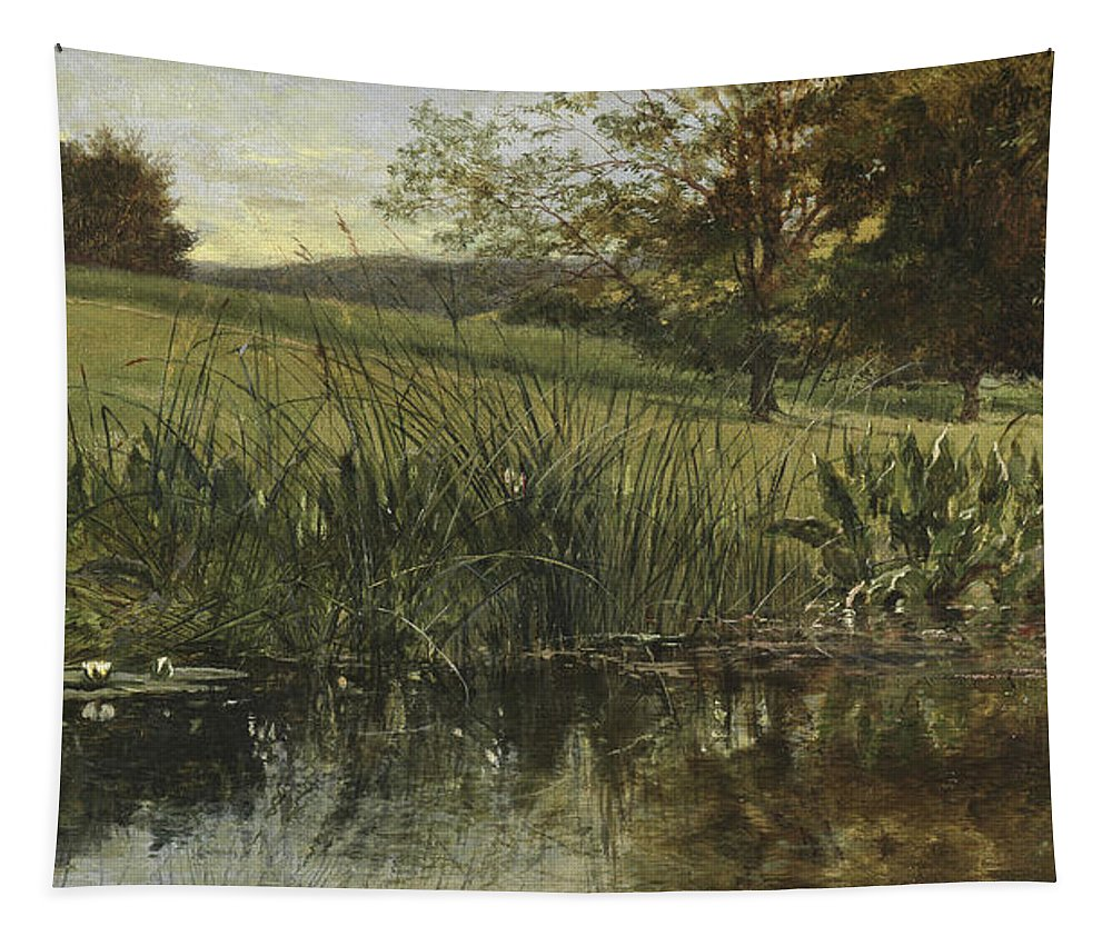 By The Riverbank Tapestry featuring the painting By The Riverbank, 1869 by Heywood Hardy