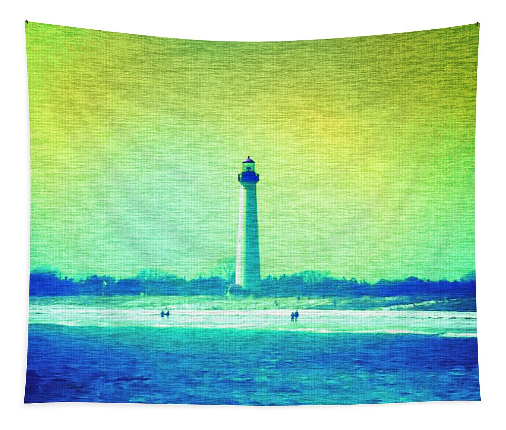 Lighthouse Tapestry featuring the photograph By The Sea - Cape May Lighthouse by Bill Cannon