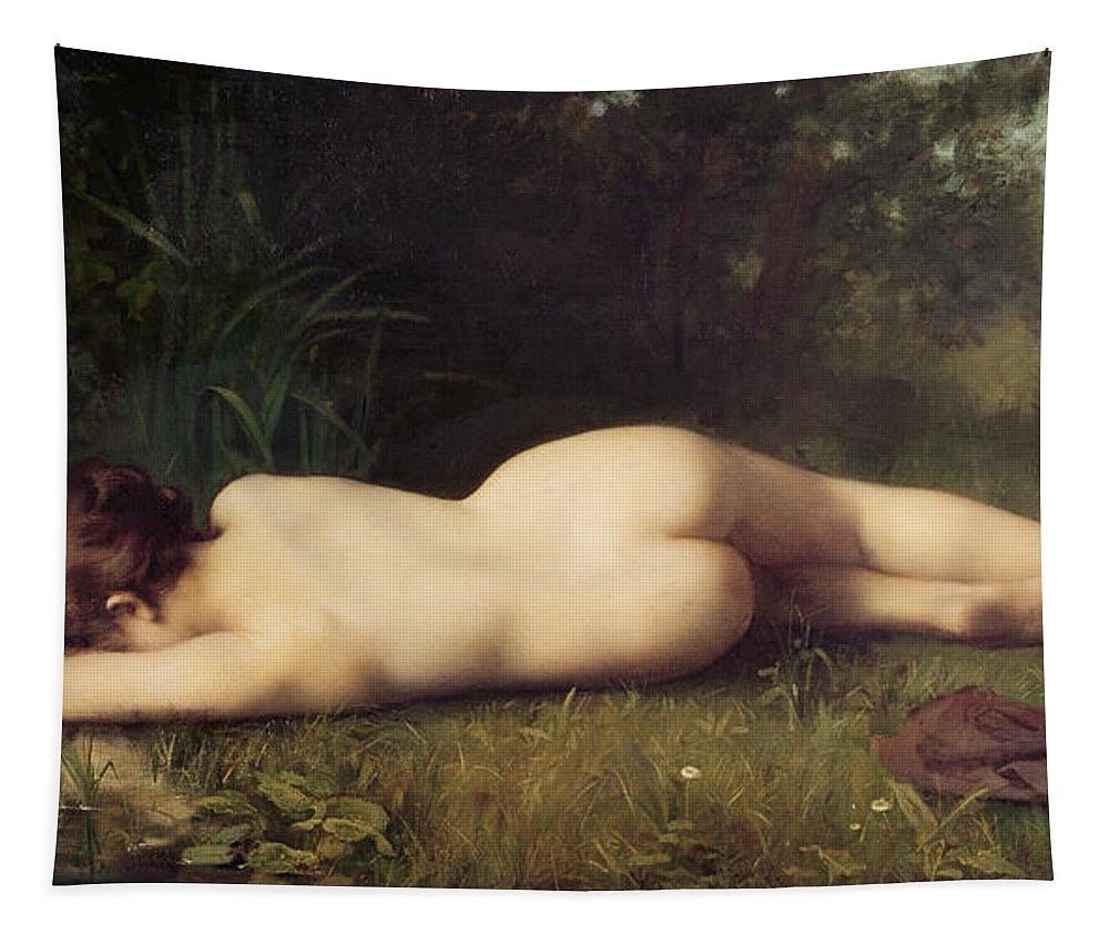 Nude Tapestry featuring the painting Byblis Turning Into A Spring by Jean Jacques Henner