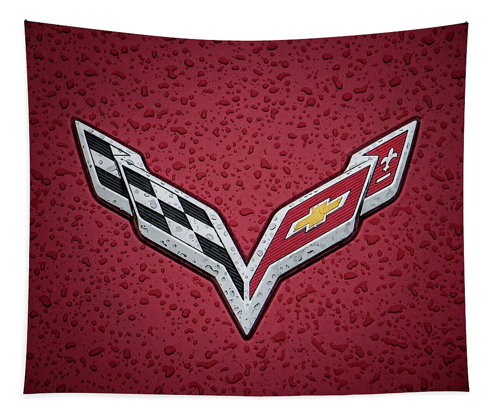 Corvette Tapestry featuring the digital art C7 Badge Red by Douglas Pittman