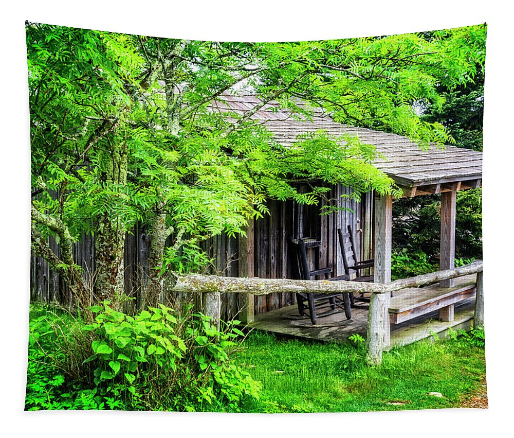 Appalachia Tapestry featuring the photograph Cabin At The Top Mt Leconte by Debra and Dave Vanderlaan