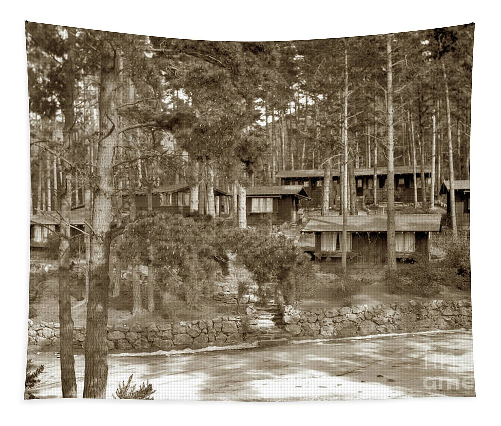 Cabins Tapestry featuring the photograph Cabins At Carmel Highlands Inn Circa 1930 by California Views Archives Mr Pat Hathaway Archives