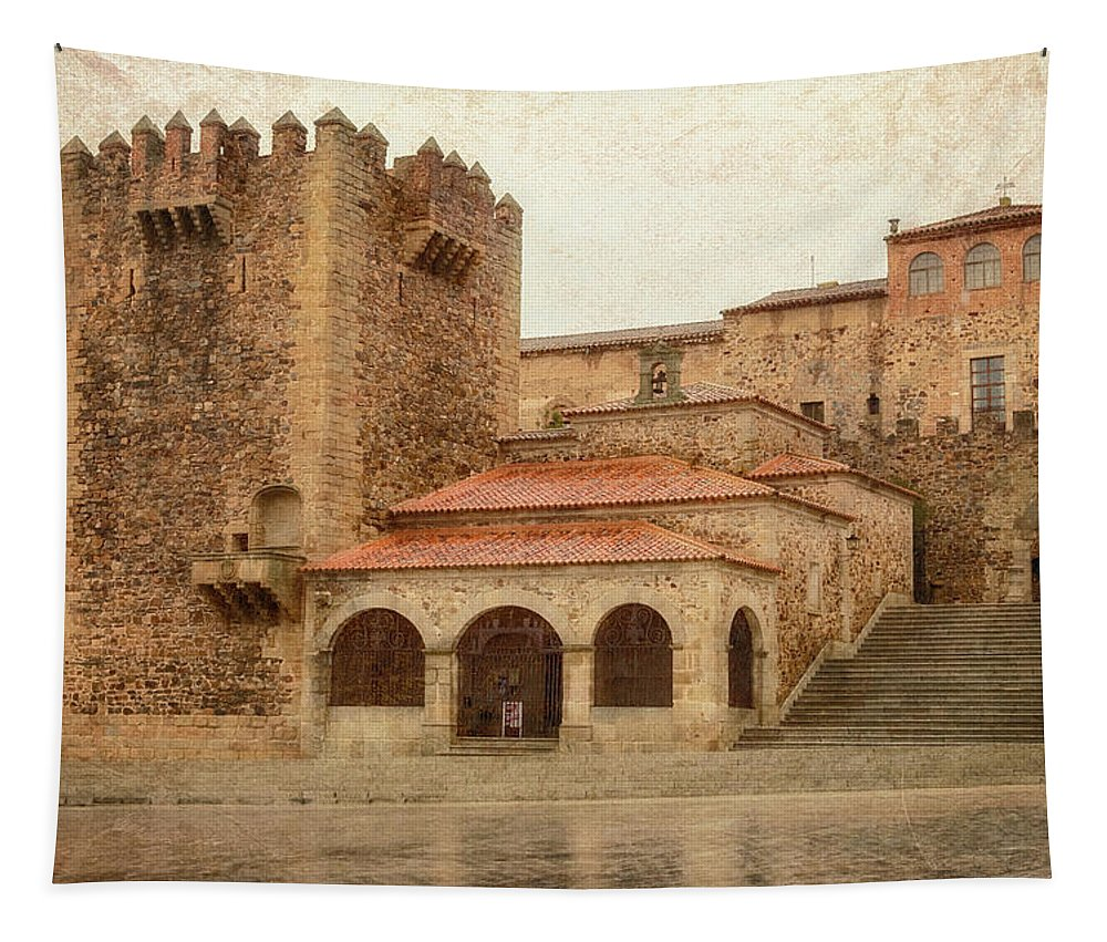 Joan Carroll Tapestry featuring the photograph Caceres Spain by Joan Carroll