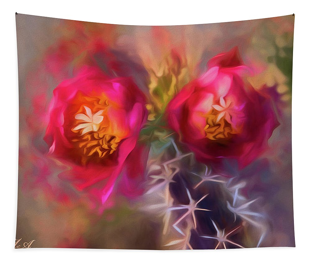 2007 Tapestry featuring the photograph Cactus Flower 07-003 by Scott McAllister