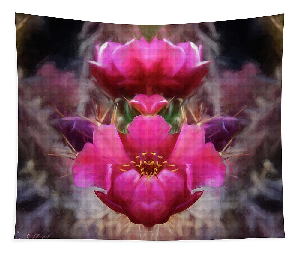 Southwest Tapestry featuring the photograph Cactus Flower 07-02 S08 by Scott McAllister
