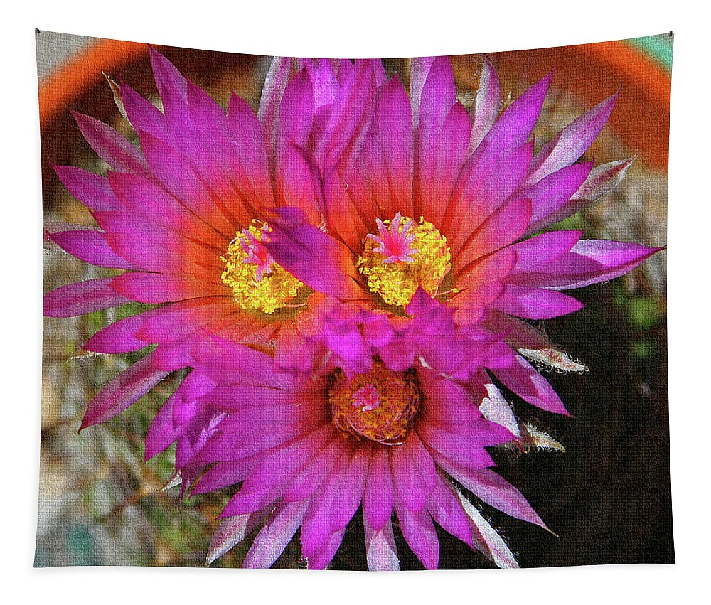 Cactus Flowers Tapestry featuring the digital art Cactus Flowers by Tom Janca