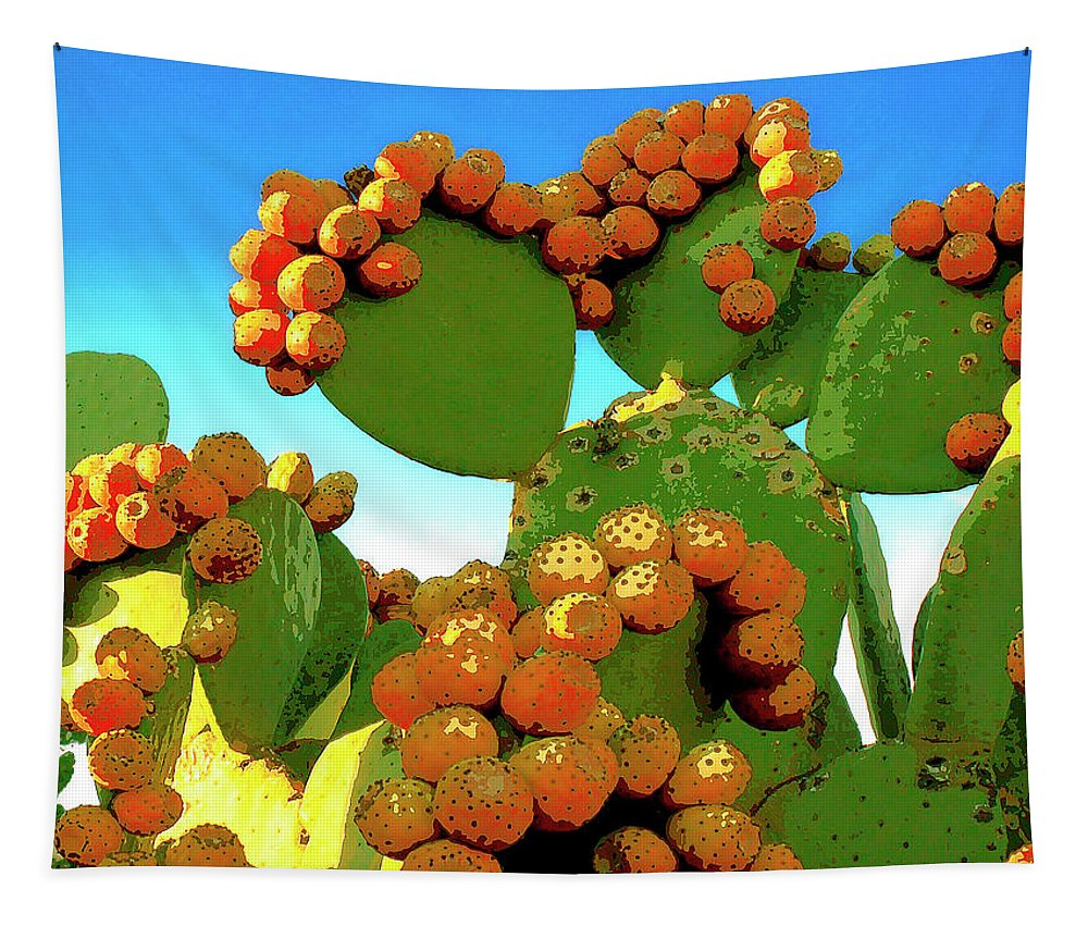 Cactus Tapestry featuring the mixed media Cactus Pears by Dominic Piperata