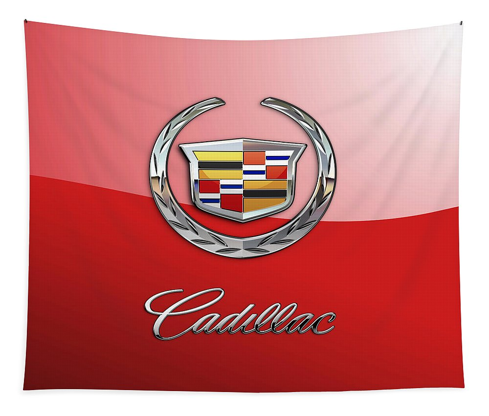 �wheels Of Fortune� Collection By Serge Averbukh Tapestry featuring the photograph Cadillac - 3 D Badge on Red by Serge Averbukh