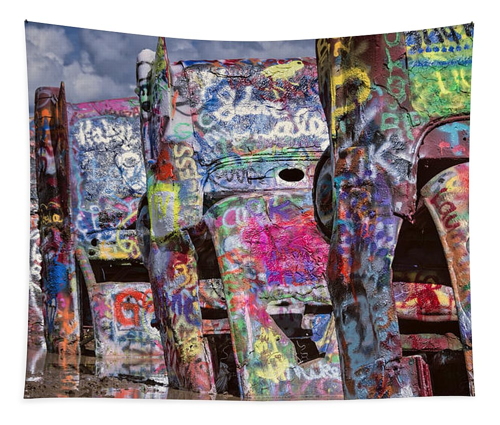 Joan Carroll Tapestry featuring the photograph Cadillac Ranch Afternoon II by Joan Carroll