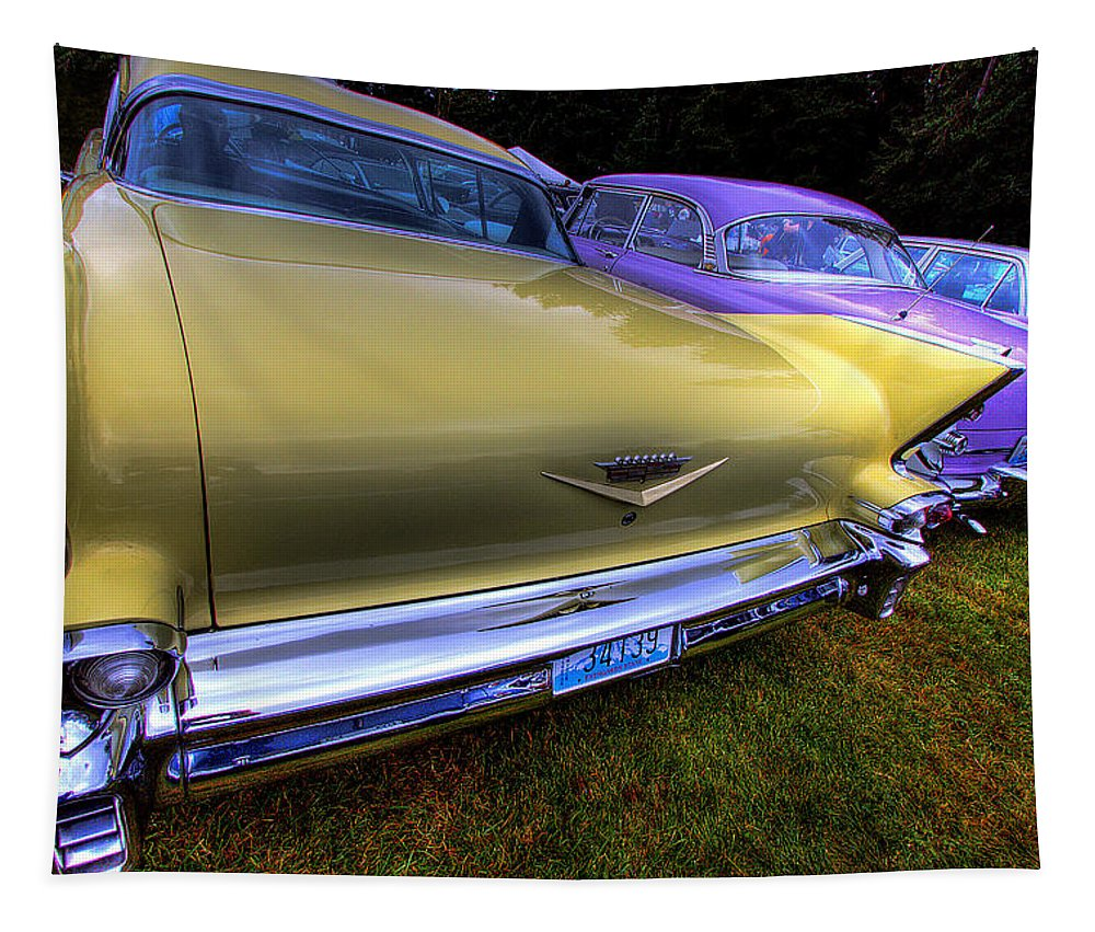 Automobiles. Cars Tapestry featuring the photograph Cadillacs All In A Row by David Patterson