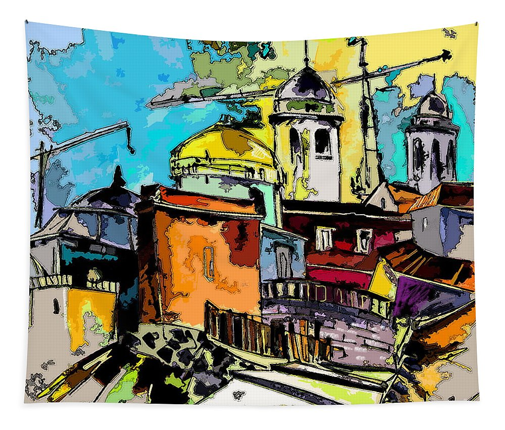 Spain Painting Cadiz Andalusia Tapestry featuring the painting Cadiz Spain 02 Bis by Miki De Goodaboom