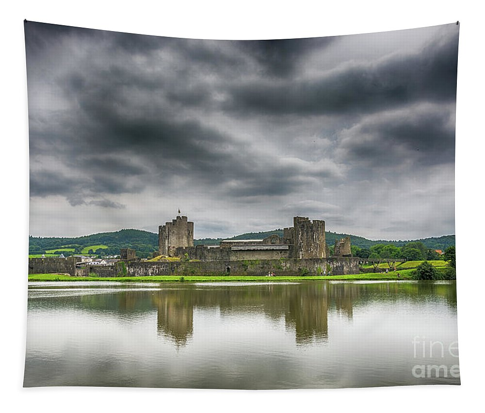 Caerphilly Castle Tapestry featuring the photograph Caerphilly Castle North View 1 by Steve Purnell